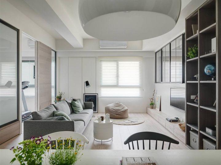 客厅白色茶几北欧风格装修设计图片