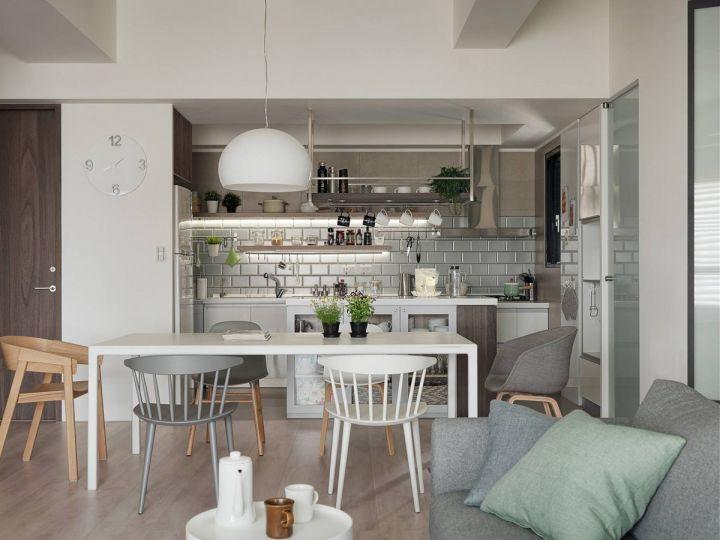 餐厅白色餐桌北欧风格装潢设计图片