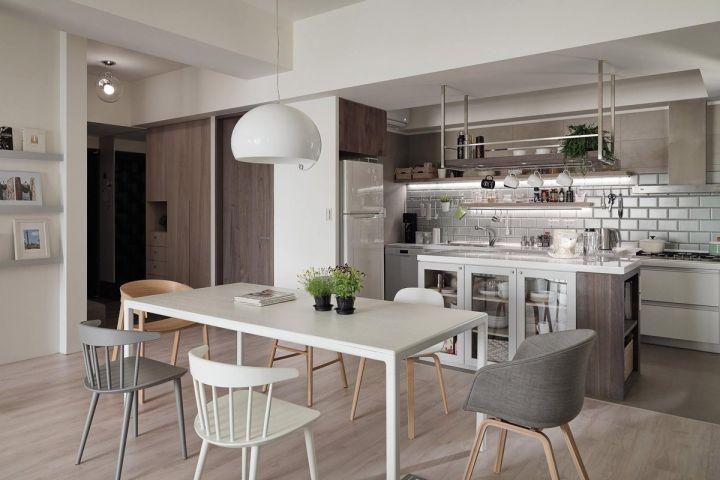 餐厅白色灯具北欧风格效果图