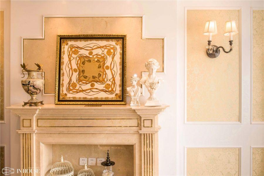 客厅米色背景墙欧式风格装修效果图