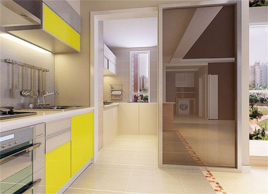 厨房黄色橱柜简约风格装修效果图