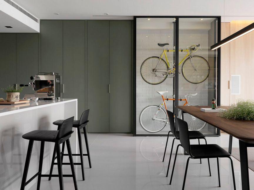 餐厅咖啡色餐桌现代风格装饰效果图