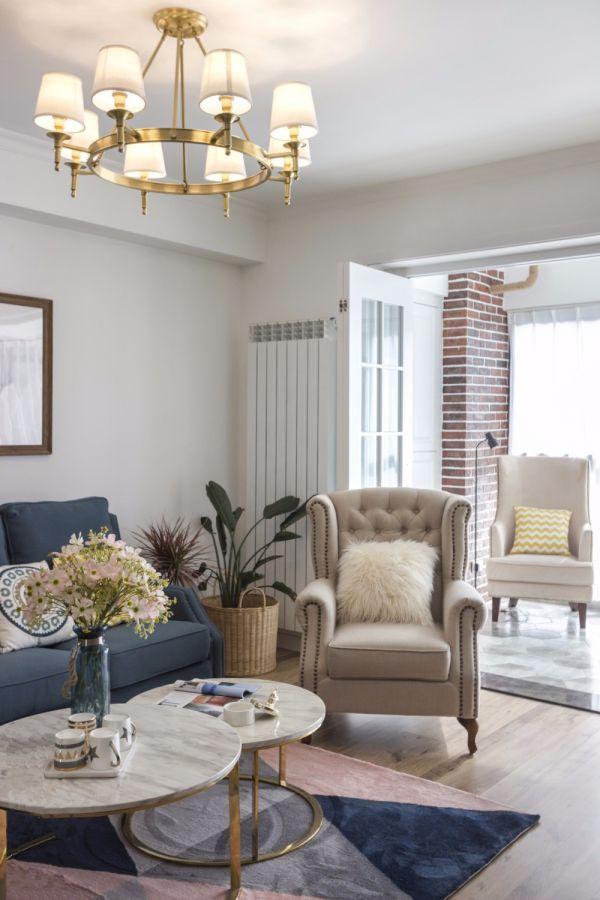 客厅黄色灯具美式风格效果图