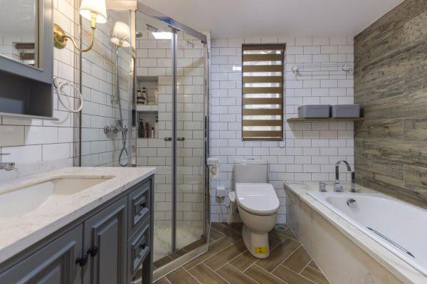 浴室灰色洗漱台美式风格装饰图片