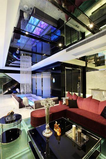 客厅黑色茶几现代风格装饰设计图片