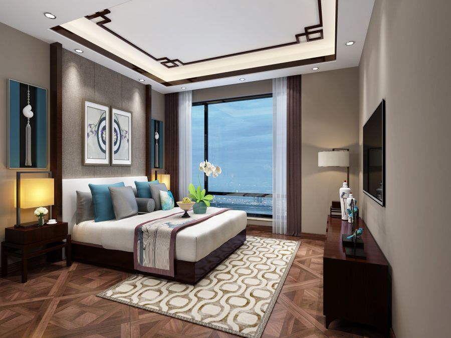 卧室咖啡色电视柜新中式风格装修效果图