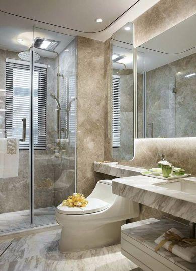 浴室灰色洗漱台法式风格效果图
