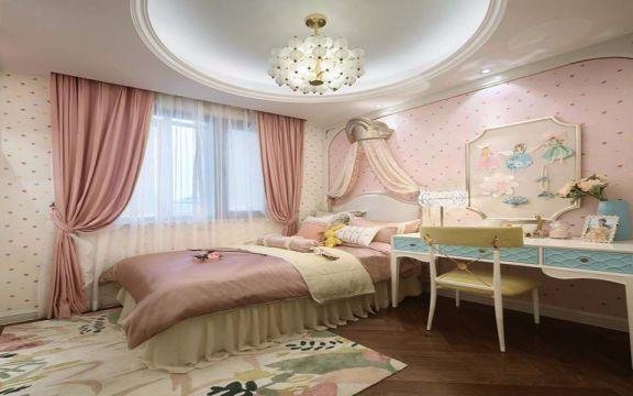 儿童房粉色窗帘法式风格装修效果图