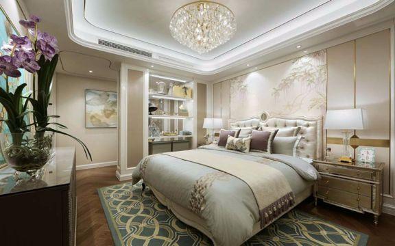 卧室黄色床头柜法式风格装饰效果图