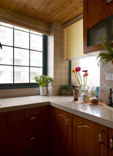 厨房咖啡色橱柜美式风格装潢效果图