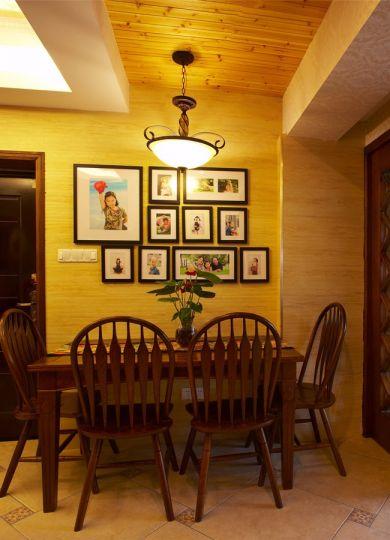 餐厅黄色照片墙美式风格装潢图片