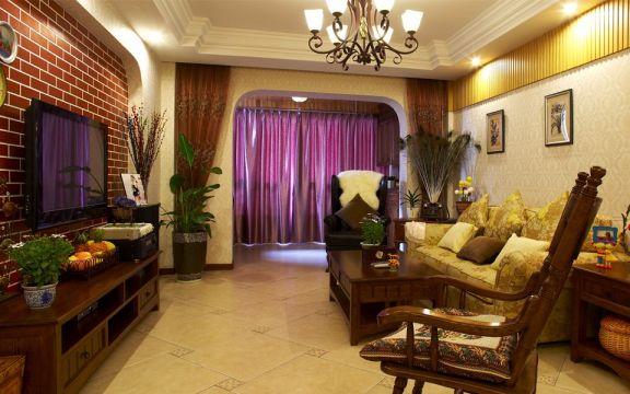 客厅黄色沙发美式风格装修设计图片