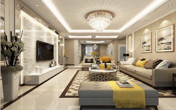 客厅白色电视柜现代风格装潢设计图片