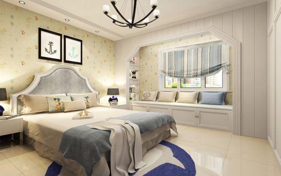 卧室蓝色窗帘现代风格装饰效果图