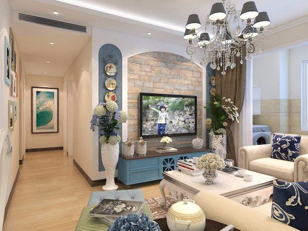 客厅蓝色电视柜地中海风格装潢效果图