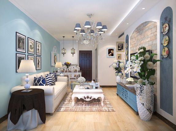 客厅白色茶几地中海风格装修图片
