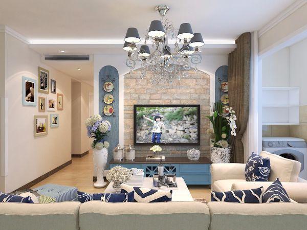 客厅咖啡色窗帘地中海风格装饰图片
