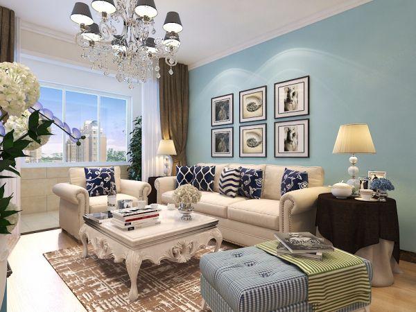 客厅蓝色照片墙地中海风格装潢图片