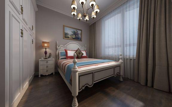 卧室白色床美式风格效果图