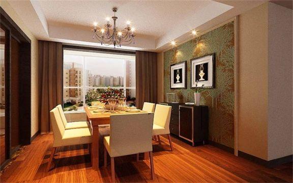 餐厅橙色餐桌现代风格装饰图片