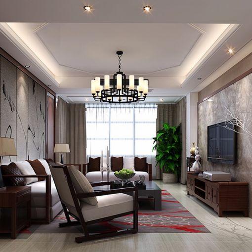 新中式风格140平米三室两厅新房装修效果图