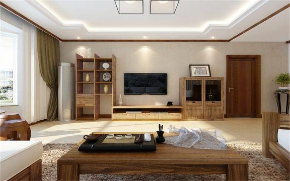 新中式风格110平米四室两厅新房装修效果图