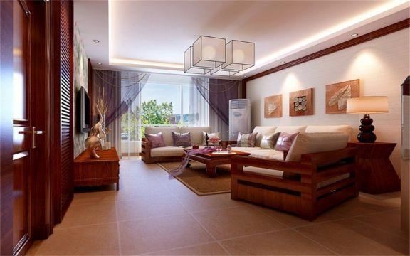 东南亚风格118平米三室两厅新房装修效果图