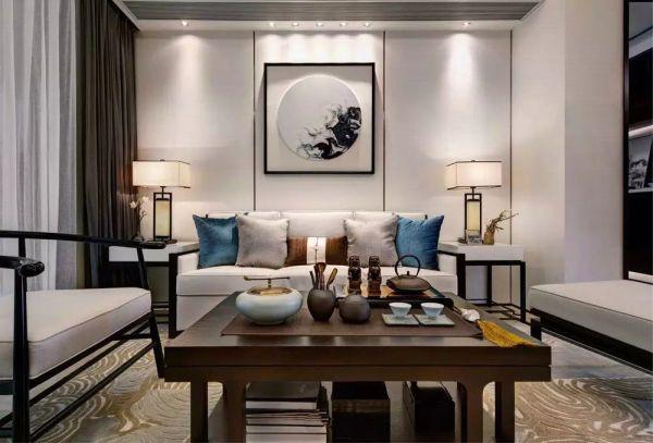 客厅黑色窗帘新中式风格装潢图片