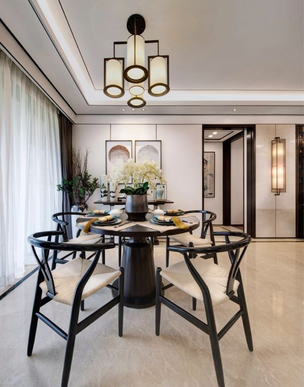 餐厅黑色餐桌新中式风格装修设计图片