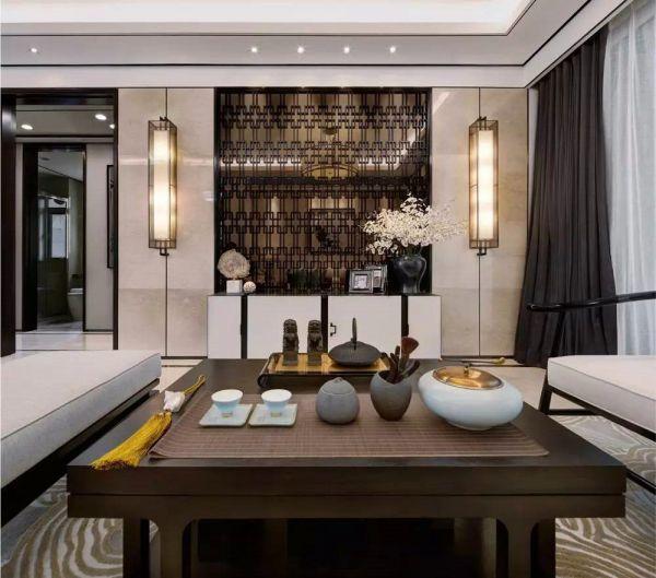 客厅白色电视柜新中式风格装饰设计图片