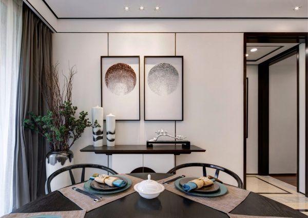 餐厅黑色餐桌新中式风格装潢设计图片