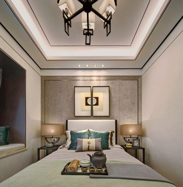 卧室咖啡色灯具新中式风格装潢效果图
