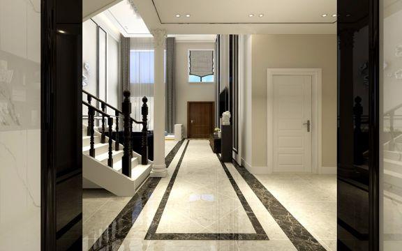 客厅白色楼梯现代简约风格装饰图片