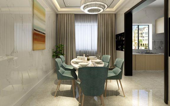 餐厅米色餐桌现代简约风格装潢图片
