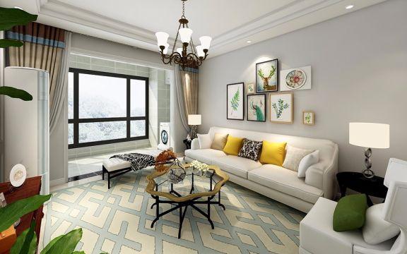 客厅白色沙发美式风格装修图片