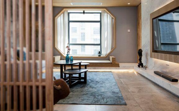 客厅咖啡色隔断新中式风格装饰设计图片