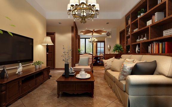 美式风格86平米两室两厅新房装修效果图