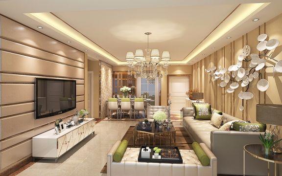 中海运河丹堤110平方三居室后现代风格装修效果图