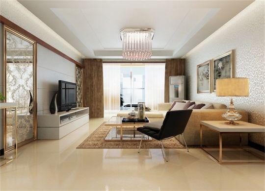 客厅咖啡色窗帘简约风格装饰效果图