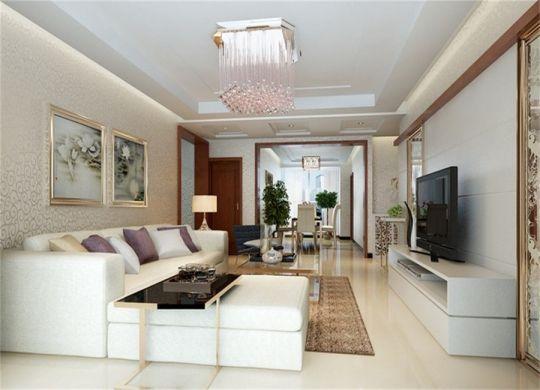 客厅白色沙发简约风格装修图片
