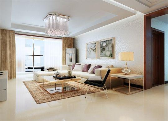 客厅白色灯具简约风格装潢图片