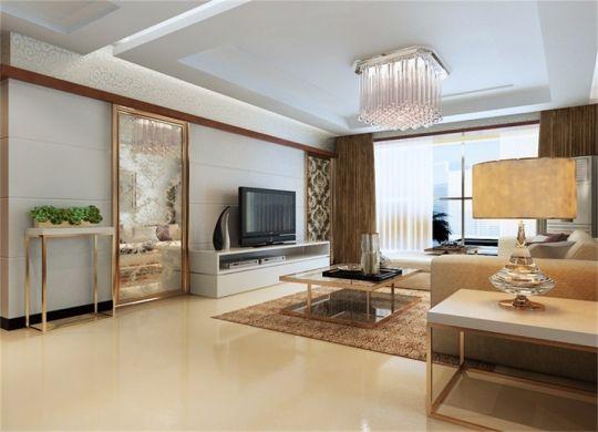 客厅白色电视柜简约风格效果图