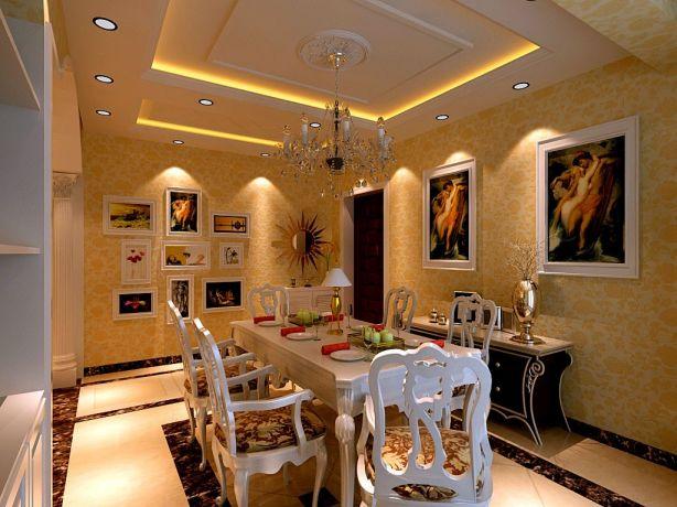 餐厅白色餐桌欧式风格装修效果图