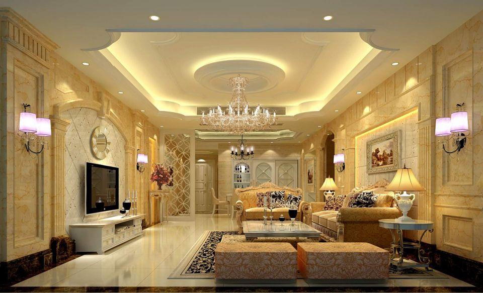 客厅白色电视柜欧式风格装潢效果图
