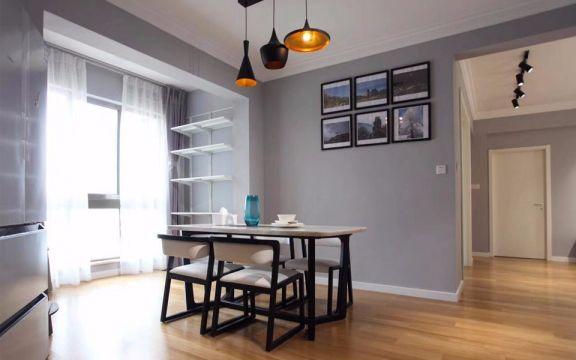 餐厅白色餐桌现代简约风格装饰图片