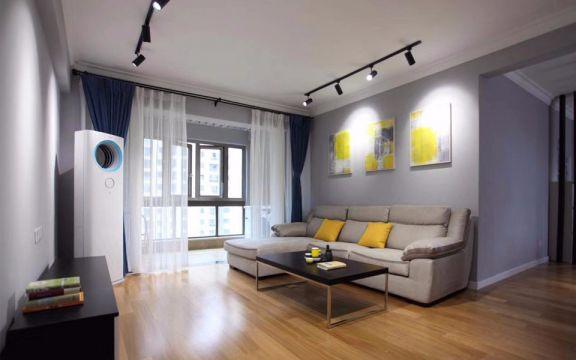 客厅白色窗帘现代简约风格装潢图片
