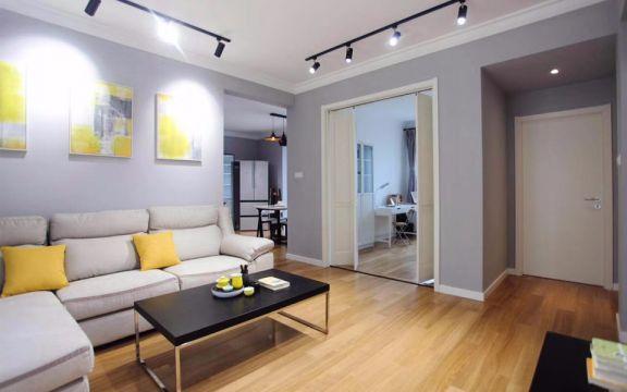 客厅白色沙发现代简约风格装修设计图片