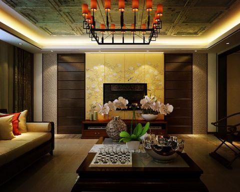 客厅咖啡色茶几欧式风格装修设计图片