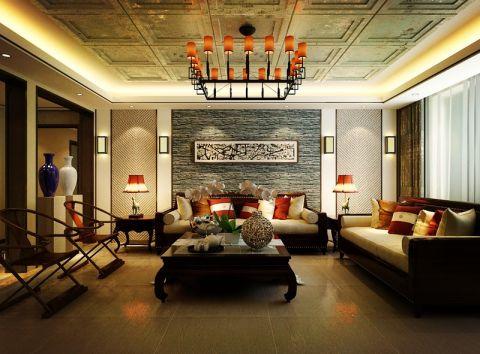 客厅咖啡色沙发欧式风格装潢设计图片