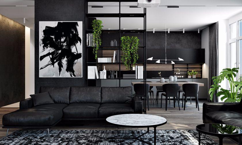 客厅黑色沙发现代简约风格装饰设计图片